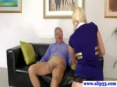 Teen glamour amateur bouncing on old man cock