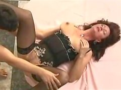 Saggy Tits Granny Fucks Young Guy Stockings