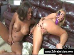 Zebra Lesbians - Nasty ebony babes love strap-on fuck 12