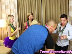 Party teens cum faced