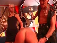Mature blonde gets tied and satisfied