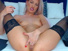 Smoking Hot Blonde Babe Finger Fucks Her Pussy