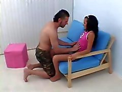 Skinny brunette Chasey eats his cock and gets both holes nailed