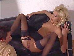 blond in black stockings