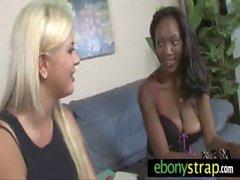 Interracial lesbian hard dildo sex 2