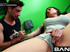 Confessions Busty Asian Brenna getting a tattoo and nice fu