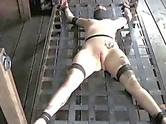Tattooed sub restrained and spanked