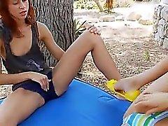 Outdoor lezzie orgasm contest