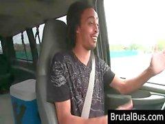 Mec conduit l'autobus à la recherche pour des poussins et en choisit un haut