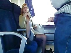 Mature wife sucks in train