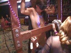 MILF stripped spanked made to cum in public