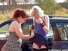 Satine Spark in public lesbian bondage