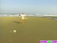 Mina Kozina Asian doll has hardcore sex on the beach