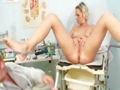 Blonde Gabriela gyno speculum exam at kinky clinic