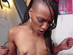 Tit torture with skinny ebony Nikki Darling