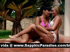 Adorable brunette and blonde lesbos kissing and getting naked and having lesbo sex
