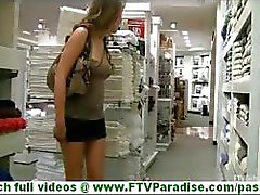 Ella young brunette girl with big tits flashing tits and toying pussy in public