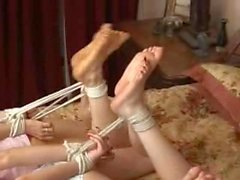 Three girls hogtied on bed