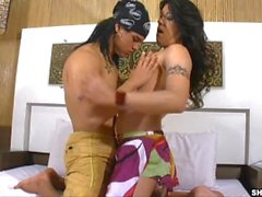 Sexy tranny sucking big hard cocks before she rides cowgirl style