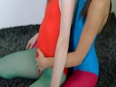 Hairy lesbians in nylon pants bang