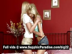 Sexy blonde lesbians licking pussy and having lesbian love in the bedroom