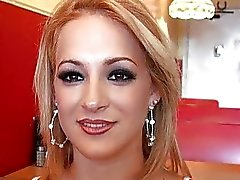Blonde latina Linda Sky picked up in a coffee hous