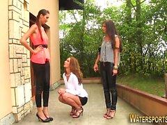 Urinating lesbos toying