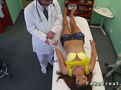 Doctor fucks patient in yellow bra in fake hospital