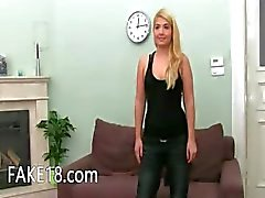 Big tits blondie undress herself on sofa