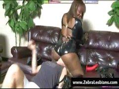Zebra Girls - Ebony lesbian babes enjoy deep strap-on fuck 01