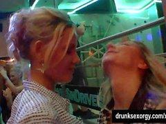 Sexy lesbians have fun in club