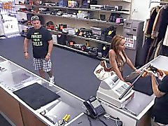 Crazy bitch with big tits pawned a gun and got fucked hard