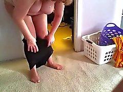 den weißen Hosen bei Durchsicht Strumpfhosen schwarz Gürtels