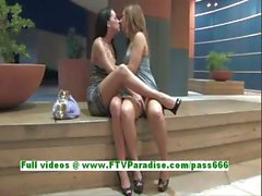 Devaun and Wendy hot lesbians kissing and fingering each others pussies