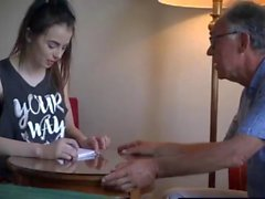 Lucky old guy fucks a beautiful young english student girl