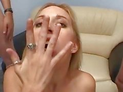 Filthy slut Erin Moore eats a cum dessert from a bowl with a spoon