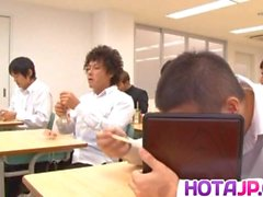 Ruri Saijo rubs cunt with fruit in classroom