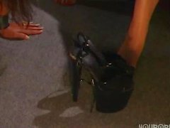 Mistress Natasha Sweet dominates pet into foot worship