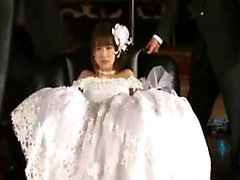 Delightful bride gets treated like a whore by a gang of hor