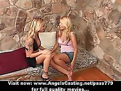 Superb sexy blonde lesbian couple with big tits kissing