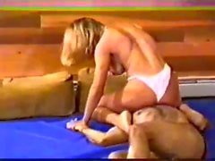 Blonde Amazon mixed wrestling face sitting