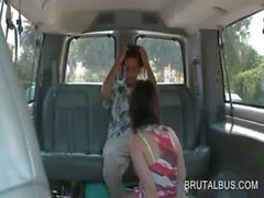 Sex bus amateur girl gets on knees to suck dick