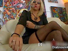 Blonde tattoed body slut smoking part3