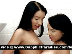 Gorgeous brunette lesbians kissing and licking pussy and having lesbian love