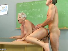 Hot teacher Cecily takes a thick cock in her cunt from behind