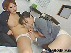 Futanari is a hot Asian tranny that gets a nasty blowjob