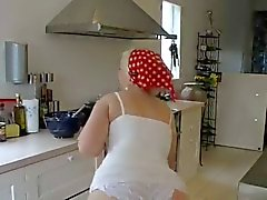 Chubby chick in white panties kitchen sex