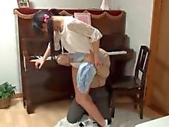 Asian busty teenage maid pussy teased upskirt
