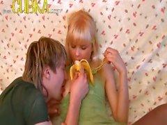 Blondie teenager having amateur loving