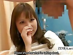 Subtitled weird CFNM Japanese amateur testicle massage